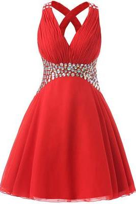 Charming Prom Dress,V Neck Prom Dresses,Beading Prom Dress
