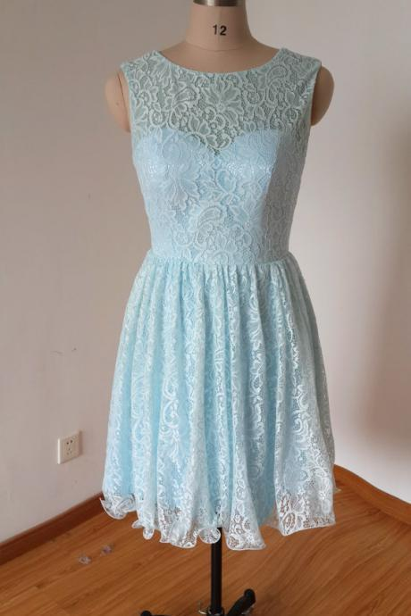 Charming Prom Dress,Lace Prom Dress,Short Prom Dress,Blue Prom Dress
