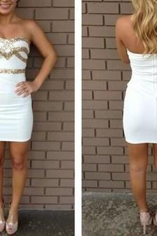 Short Prom Dress,Sexy Prom Dress,White Beaded Party Dress