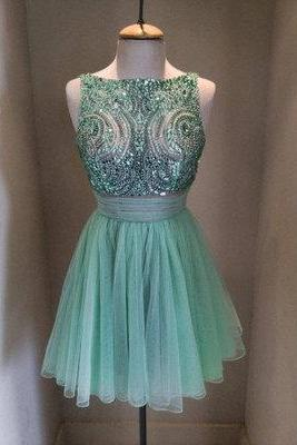 Charming Prom Dress,Tulle Homecoming Dresses,Beaded Graduation Dress,Short Prom Dress