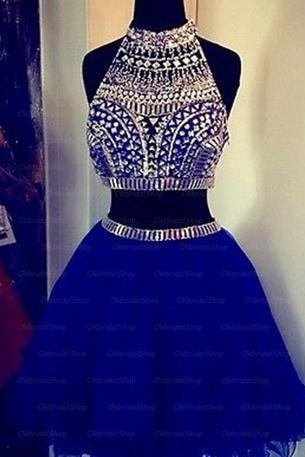 Two Piece Homecoming Dress,Charming Prom Dress,Tulle Homecoming Dresses,Beaded Graduation Dress,Short Prom Dress
