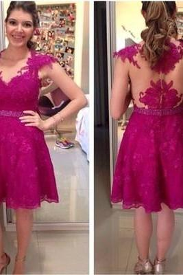 Charming Prom Dress,Lace Prom Dress,Short Prom Dress,Cap Sleeve Prom Dress,Women Dress