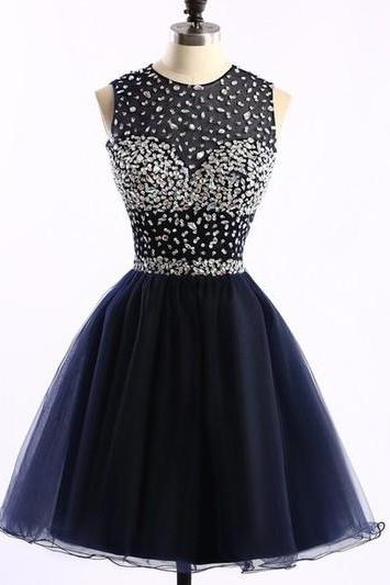 Charming Prom Dress,Tulle Homecoming Dresses,Navy Blue Homecoming Dress,Short Prom Dress