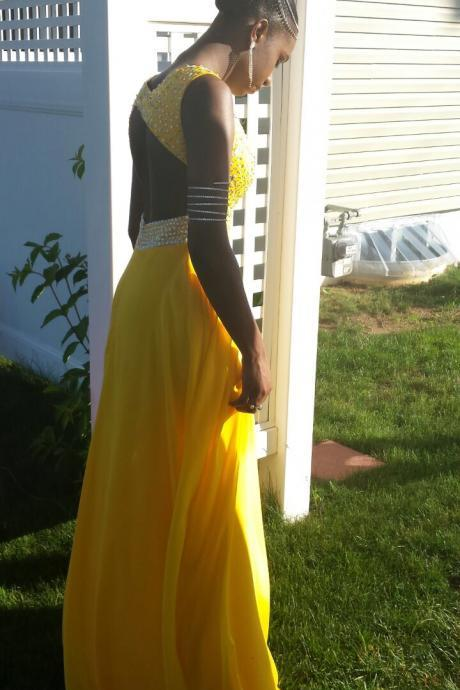 Charming Prom Dress,Yellow Chiffon Prom Dress,Long Prom Dress,Evening Formal Dress,Women Dress