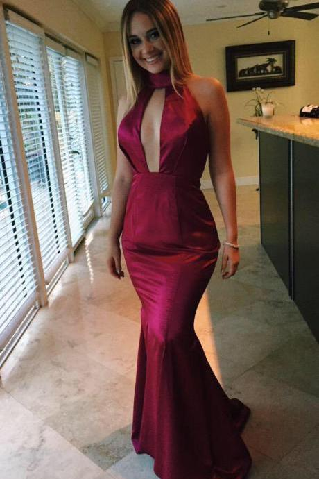 Burgundy Prom Dress,Mermaid Prom Dress,Long Prom Dress,Sexy Prom Dress