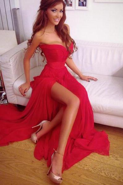 Charming Prom Dress,Red Chiffon Prom Dress,Side Slit Evening Gown,Long Evening Formal Dress,Women Dress