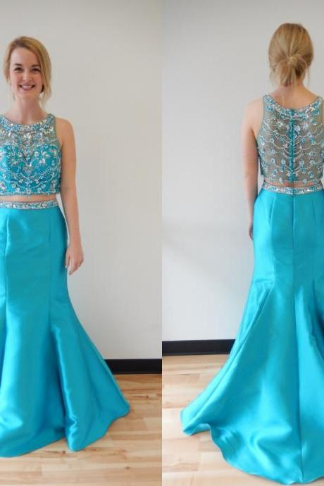 Charming Blue Prom Dress,Two Piece Prom Dress,Long Evening Dress,Beading Prom Dress