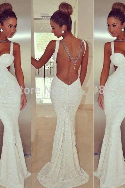 Spaghetti Straps Sweetheart Open Back Sequined Mermaid Long Prom Dress White Evening Dress