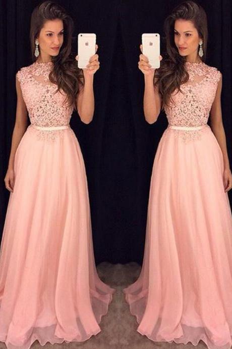 Lace Top Pink Prom Dress, Long Evening Dress Party Elegant Prom Dresses