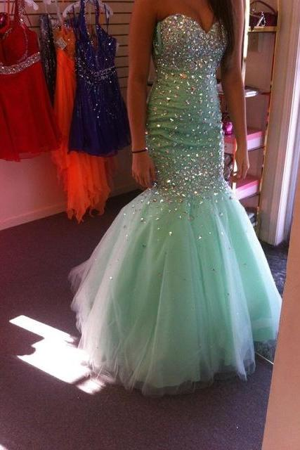 Mermaid Evening Dresses Sweetheart Sleeveless Backless Sweep Train Tulle and Crystal Beaded Sexy Party Dress Prom Gown