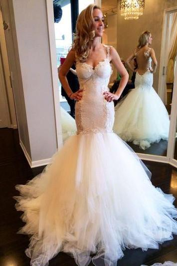 Lace Appliques Sweetheart Shoulder Straps Floor Length Tulle Wedding Dress Featuring Illusion Open Back