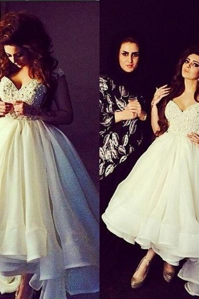 Elegant Evening Dresses, Ivory Beaded High low Sleeveless A Line Party Prom Gowns Prom Dress