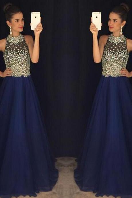 O-neck Sleeveless Long Evening Dress Party Elegant Crystal Beadings Vintage Prom Gown Prom Dress