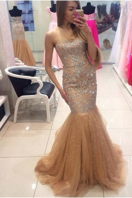 Sparkly Beaded Crystal Women Formal Evening Dresses Floor Length Long Mermaid Evening Gowns