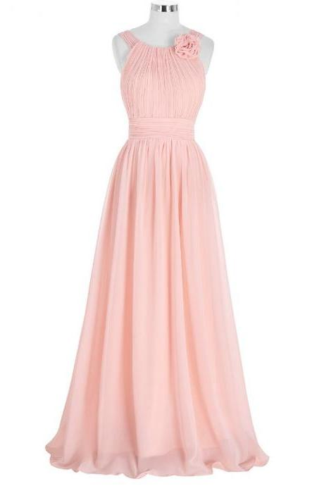 Evening Dresses Long Elegant Pink Chiffon A Line Evening Gowns Formal Party Dresses