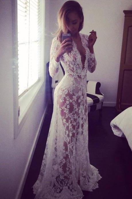 New Arrival Long Sleeve Evening Formal Dress,Prom Formal Gown,Lace Prom Dresses,Sexy Evening Gown