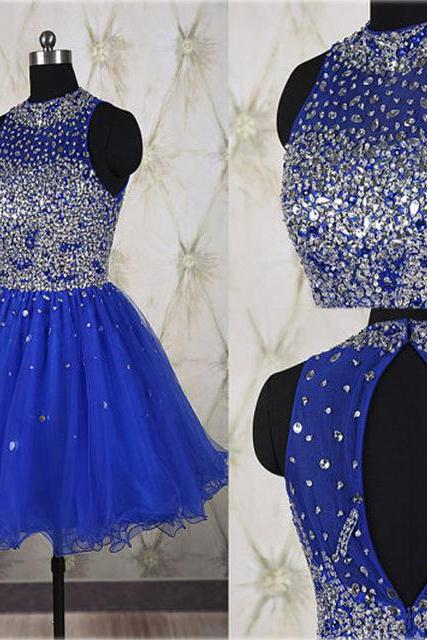 Royal Blue A-line Homecoming Dress with Halter Neckline and Backless Detail