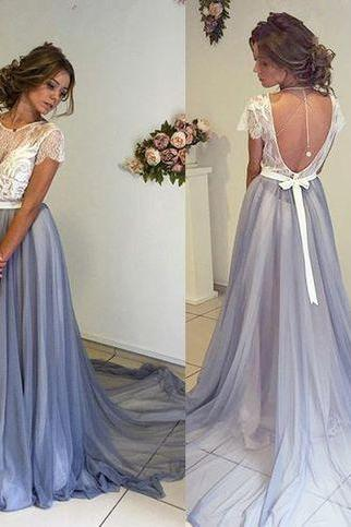 Short Sleeve Prom Dress,New Arrival Long Prom Dress,2017 Backless Evening Dress,Formal Dress,Occasion Dress