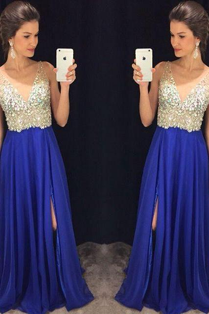 Royal Blue Side Split V-Neck Prom Dresses,Long Party Gowns,Formal Pageant Evening Dress, Long Prom Dress,Formal Gown