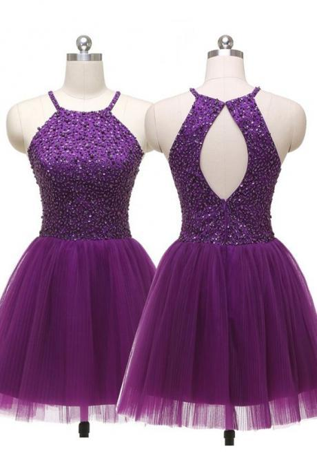 Fashionable Dark Purple Homecoming Dress,Tulle Homecoming Dress,Elegant Prom Dress,Beaded Graduation Dress for Party