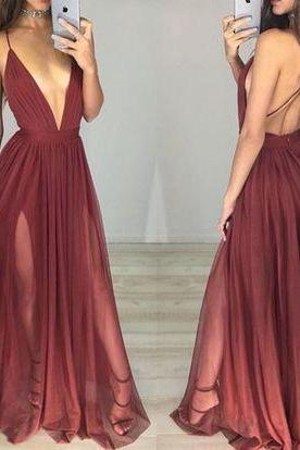 Simple Long Evening Dress,Sleeveless Burgundy Prom Dress,Sexy Evening Dresses,Sexy Backless Prom Dresses