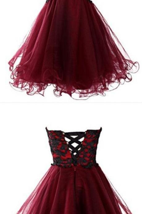 Red Sweetheart Neckline Tulle Cocktail Dress, Homecoming Dress with Lace Applique