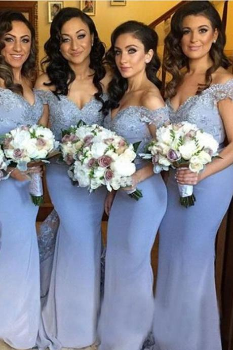 Lace Appliqués Off-The-Shoulder Plunge V Floor Length Trumpet Bridesmaid Dress
