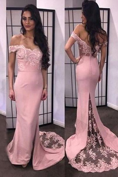 Sexy Prom Dress, Off the Shoulder Lace Mermaid Evening Dress,Appliques V Neck Prom Dresses,Wedding Party Gown