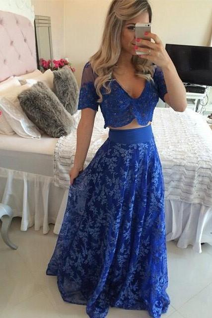 Sexy Prom Dress,Two Piece Prom Dresses,Blue Lace Evening Dress,Long Evening Gowns,Short Prom Dresses