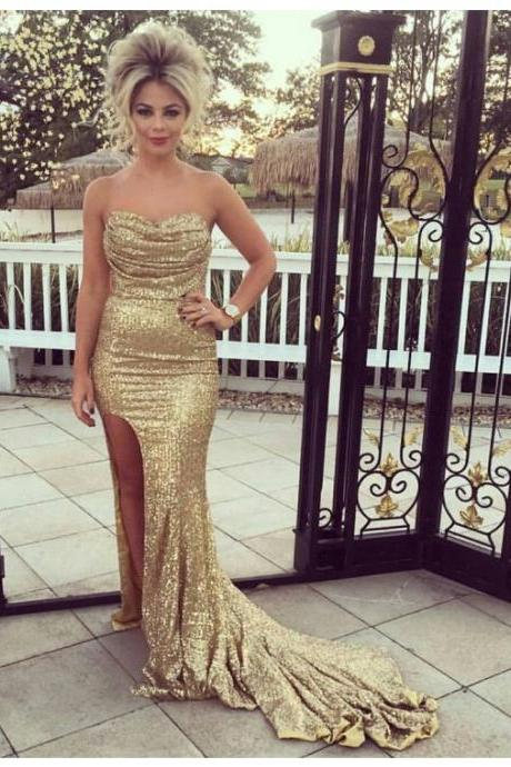 Sexy Prom Dress,Mermaid Prom Dresses,Split Side Mermaid Evening Dress,Sequins Evening Party Dress