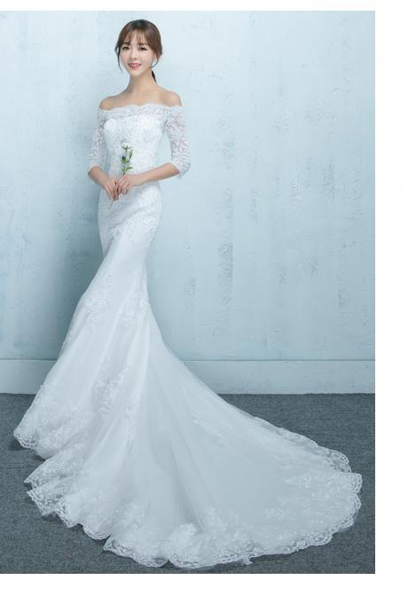 Gorgeous Mermaid Wedding Dresses, Elegant Applique White Lace Wedding Gowns ,Short Bridal Dresses