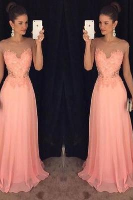 Charming Prom Dress,Chiffon Pink Prom Dress,See Though Prom Dresses,Long Evening Dress,Sleeveless Evening Dresses