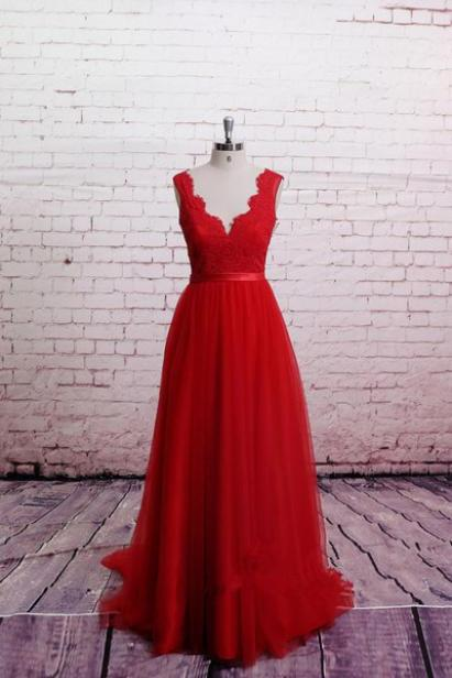 Charming Prom Dress, V Neck Red Prom Dress,Sexy Prom Dresses, See Though Prom Dresses,Long Evening Dress,Evening Dresses,Formal Gown