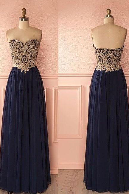 Charming Prom Dress,Sweetheart Chiffon Prom Dresses,Backless Floor Length Prom Dress,Appliques Evening Dress,Formal Dress