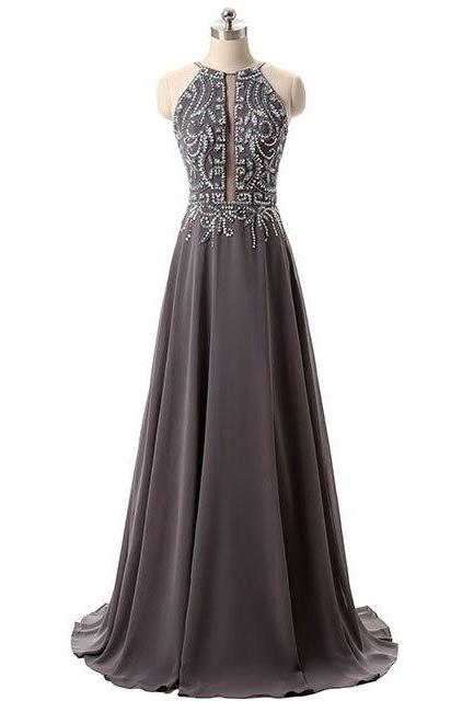 Prom Dress,Prom Dresses,Crystal and Beading Backless Evening Dress,Chiffon Evening Dresses,Prom Party Dress