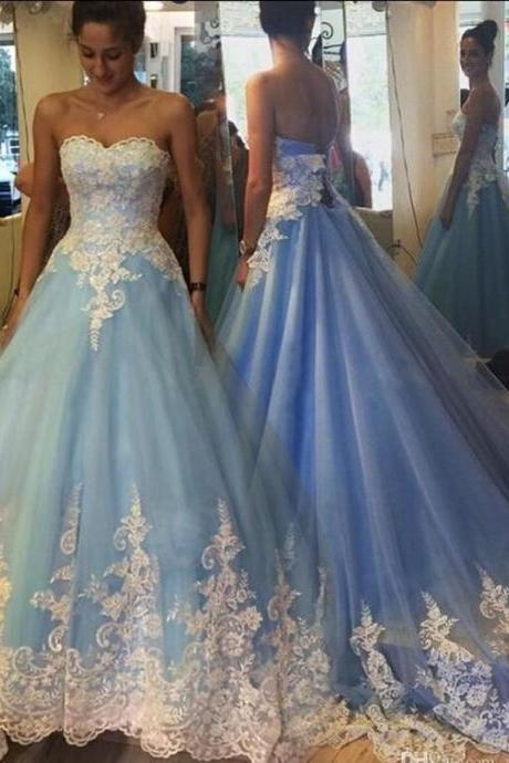 Ball Gown Prom Dress,Charming Prom Dresses,New Arrival Prom Dress,Appliques and Lace Quinceanera Dress,Sweetheart Backless Prom Dresses