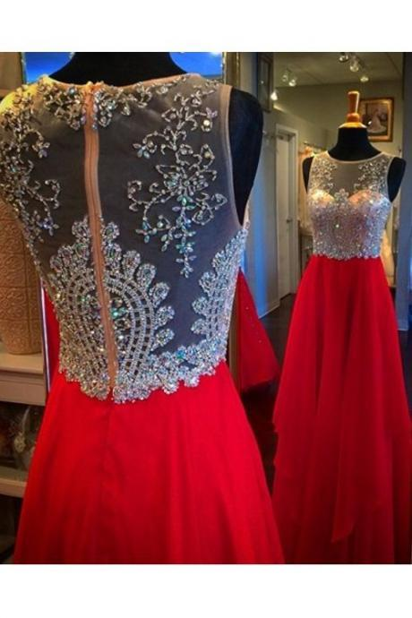 Charming Prom Dresses,Crystal Beading Prom Dress,Sheer Back Prom Dresses, Red Chiffon Evening Dress,