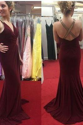Mermaid Evening Dress, Sexy Long V Neck Elegant Formal Evening Dress,Sleeveless Evening Gowns with Open Back
