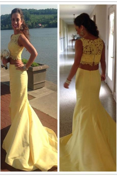 Mermaid Evening Dress, Two Piece Prom Dress with Lace, Sexy Long Formal Evening Dress,Sleeveless Evening Gowns