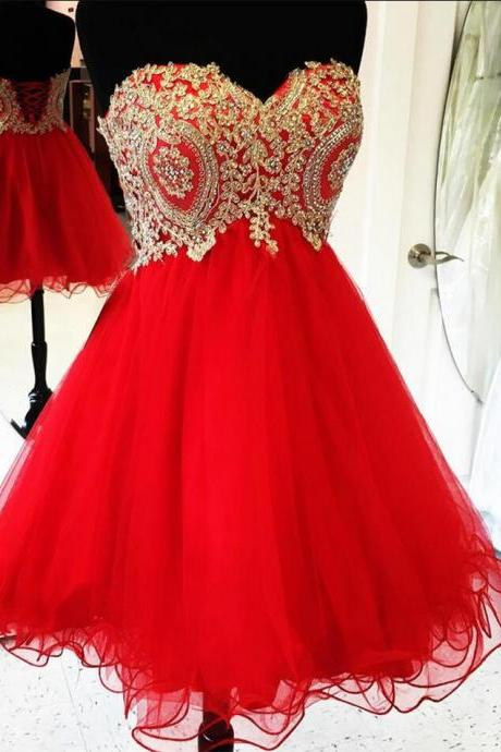 New Arrival Red Tulle A Line Short Prom Dress, Strapless Lace Appliques Beaded Prom Gowns Prom Dresses