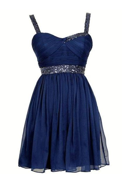 New Arrival Sexy Sweetheart Backless Short Women Formal Dress Beaded And Crystal Navy Blue Chiffon Prom Dresses