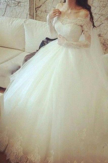 Elegant Long Sleeve Wedding Dresses,White Tulle Wedding Dresses,Fashion Bridal Dress