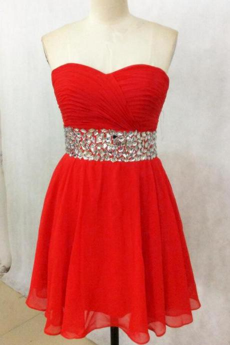 Mini Party Dress, Red Prom Gown, Tulle Beaded Prom Dress, Backless Prom Party Gown