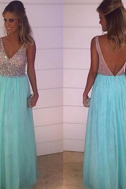 Elegant Prom Dress,Charming Prom Dress,Sleeveless V Neck Prom Dresses with Crystal and Beaded ,Blue Backless Evening Dress,Formal Evening Dresses,Women Dress