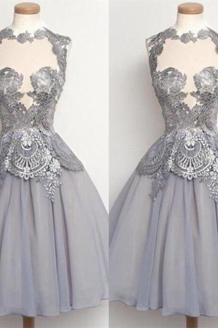 Elegant Prom Dress,Grey Lace Appliques Prom Dress,Short Prom Gown,Party Dress