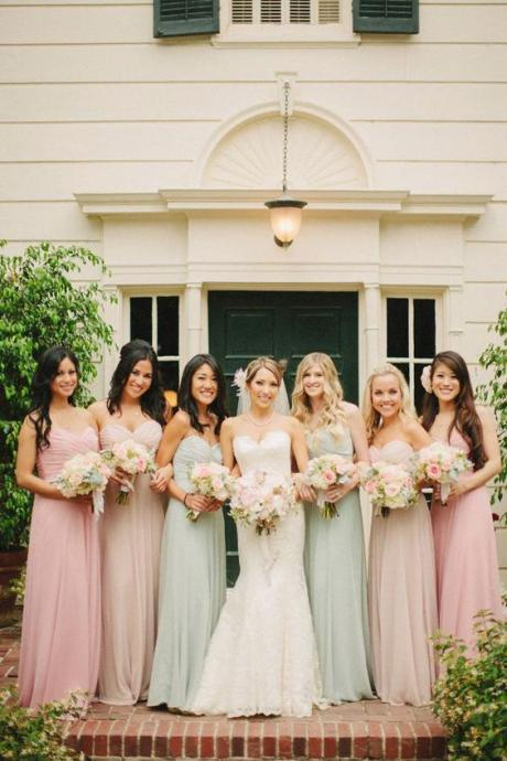 Simple Sleeveless Chiffon Sweetheart Neck Bridesmaid Dress,Elegant Long Bridesmaid Dresses