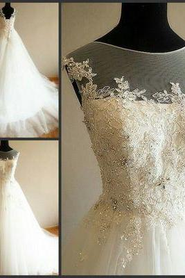 Charming Wedding Dress, White Tulle Wedding Dresses,Ball Gown Wedding Gown, Crystal Beaded Bridal Dresses