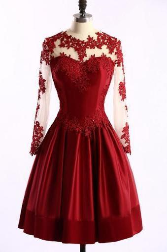 Short Prom Dress,Sexy Prom Dress,Long Sleeve Burgundy Prom Gown,Appliques Party Dress,See Though Prom Dresses