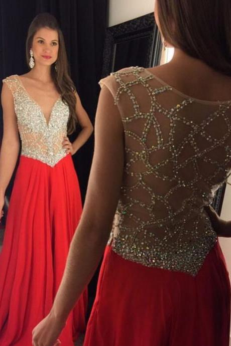 2017 Sexy Full Beaded Crystal Sparkly Elegant Red Long Evening Dress Formal Prom Party Gown Prom Dresses