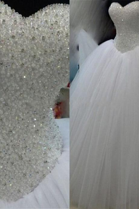 Robe De Mariage Princess Bling Luxury Beading White/Ivory Wedding Dress Gown Bridal Wedding Gown